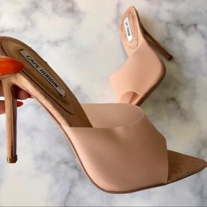 Blush Stiletto Faux Suede Pointed Toe Mules
